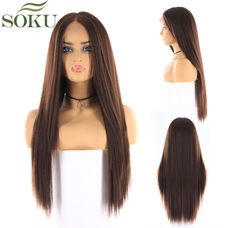Synthetic Lace Front Wigs Long Straight Middle Part Lace Wig SOKU Glueless Heat Resistant Fiber Lace Wigs For Black Women