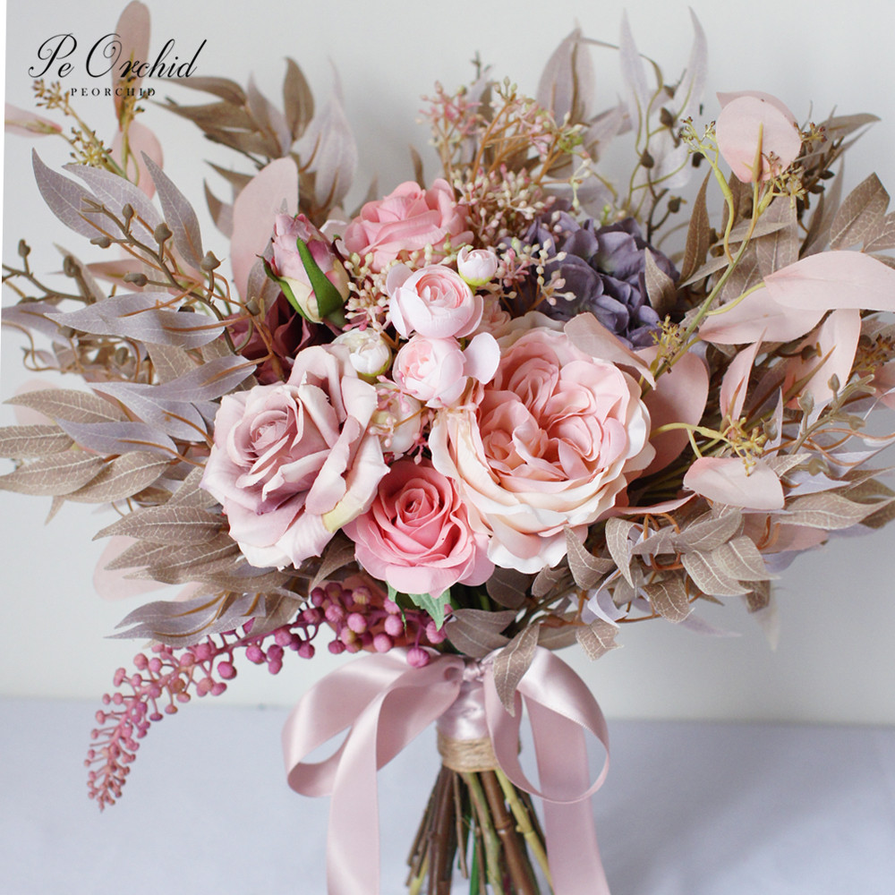 PEORCHID 2020 Champagne&Pink Wedding Flower Hand Bouquet Rose Real Touch Ramos De Novia Artificial Rustic Peony Bridal Bouquets