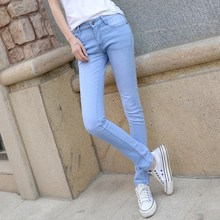 Women Denim Skinny Jeans For Pants Super Stretch Blue Slim Elastic Pencil Casual