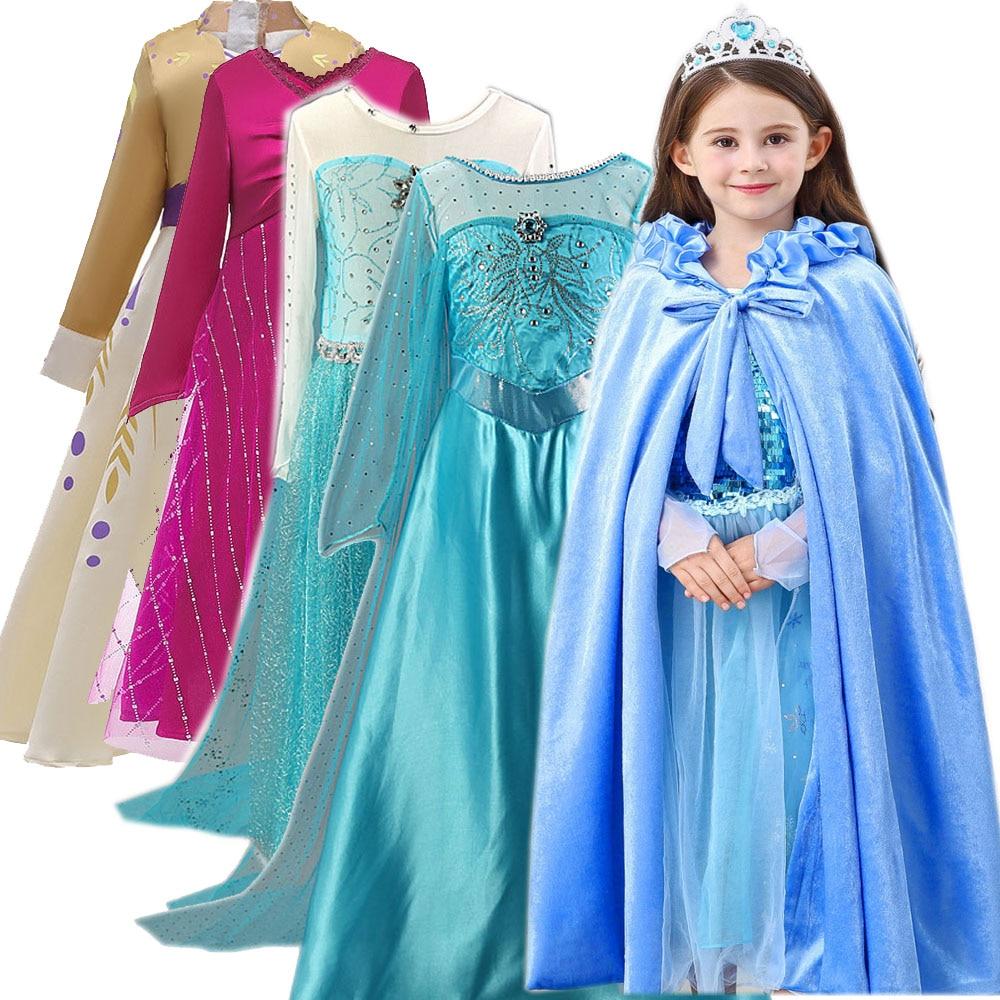 Christmas New Year Children Party Dresses For Girls Elsa Dress Princess Anna Cosplay Costume Baby Kids Clothing Vestido Infantis