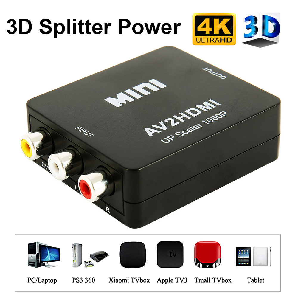 Mini AV na konwerter wideo HDMI Box AV2HDMI RCA AV HDMI CVBS na Adapter HDMI do telewizora HDTV PS3 PS4 PC DVD Xbox projektor