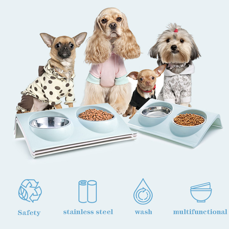 Double Dog Cat Stainless Steel Bowls Splash-proof Pet Food Water Feeder For Dog Puppy Cats Pets Supplies Feeding Dishes Pet Bowl
