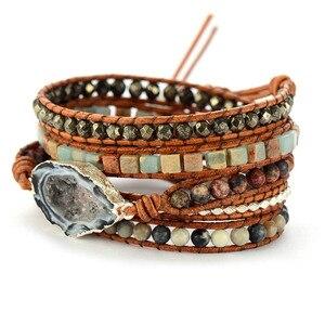 Image 3 - أساور جلدية اليدوية الأحجار الطبيعية Drusy سحر متعدد الطبقات أساور مطوية أساور بوهو اليدوية هدايا