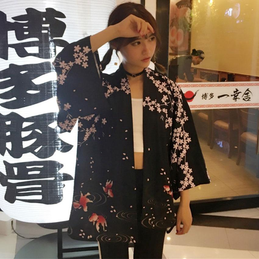 Japanese Oriental Crane Sakura Kimono Haori Cardigan Chinese Tang Suit Ukiyo-e Bath Robe Pajamas For Woman Coat Outfits