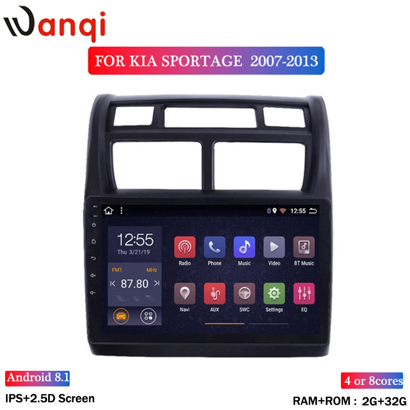 Wan qi 2G RAM 32G ROM 9 zoll full touch Android 8.1 Auto DVD Player GPS Navigation Multimedia für kia sportage 2007-2013