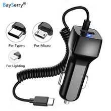цена на Universal Car Charger with Cable Cellphone USB Fast Charger For iPhone 6 6s 7 8 Plus For iPhone Dual USB Car Charger Adapter