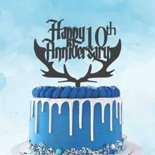 Personalizado aniversário de casamento bolo de madeira topper personalizado seu número feliz 10th aniversário 20th 40th aniversário topper
