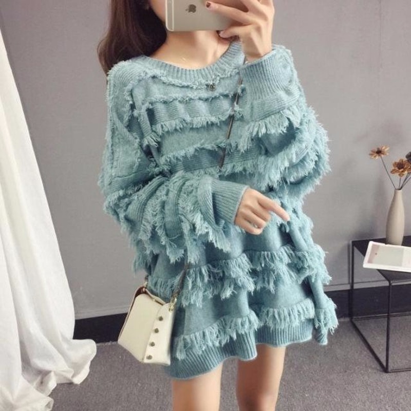 2020 Net Red Fairy Tassel Spring And Autumn New Loose Korean Fashion Lazy Wind Sweater Knitwear