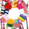 Push Poped Children Popet Rainbow Unicorn Shoulder Bag Pop Bubble Coin Purse Relieve Fidget Toys Gifts