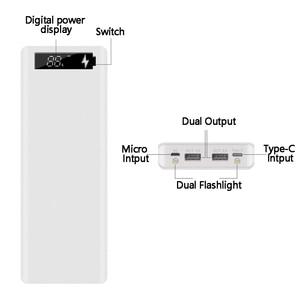 Image 3 - Çift USB 10*18650 taşınabilir güç kaynağı kılıfı cep telefonu hızlı şarj cihazı depolama DIY kabuk dijital ekran 18650 pil tutucu şarj kutusu