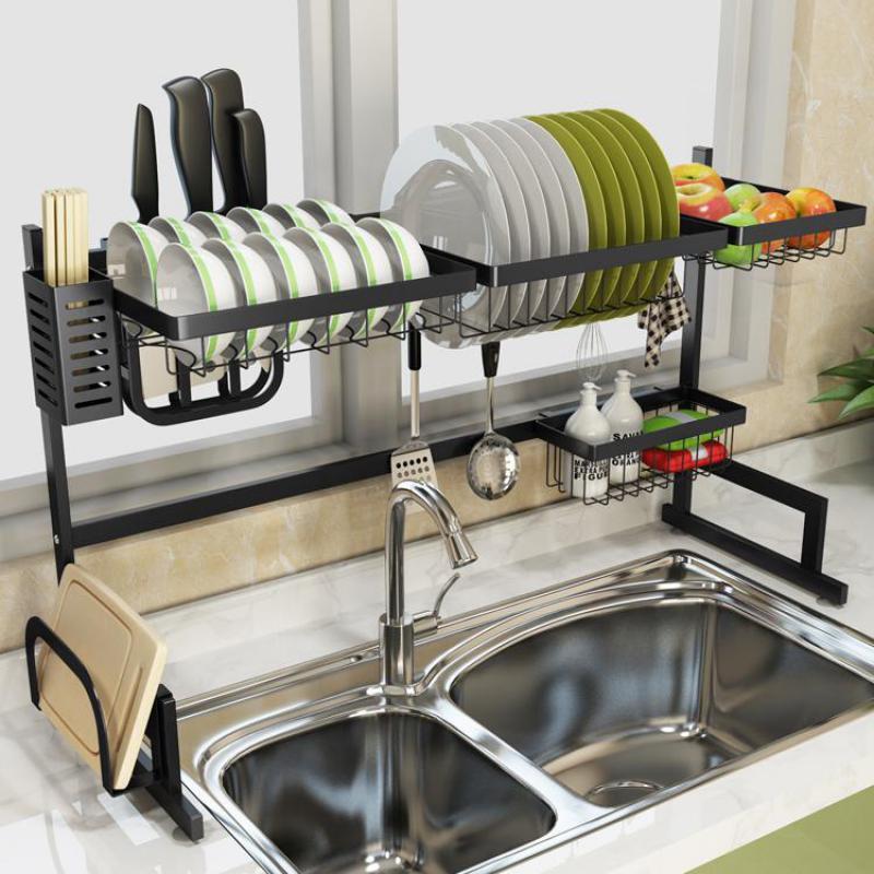Stainless Steel Sink Rack Drain Rack Sink To Dry The Chopsticks Rack Dish Rack Kitchen Shelf 2 Storey Storage Shelf pia escorredor de louça
