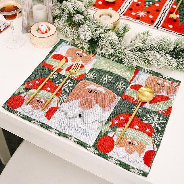 Фото трикотажная ткань столовых приборов для фестиваля рождественский
