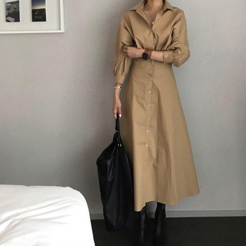 Image 5 - GALCAUR Korean Minimalist Dress For Women Lapel Collar Long  Sleeve High Waist Pure Dresses Female Autumn Fashion New 2020Dresses