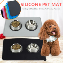 Waterproof Non-slip Pet Mat For Dog Cat Solid Color Silicone Food Bowl Drinking Water Pad Feeding Easy Clean