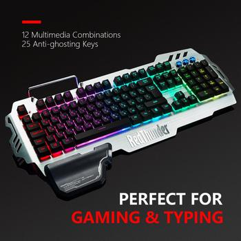 RedThunder K900 RGB Gaming Keyboard and Mouse, Sim-Mechanical Metal Cover, 6400DPI 7 Programmable Button for PC  RU ES FR 4