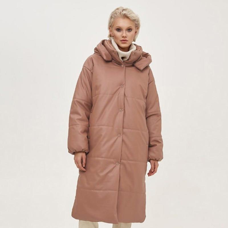 Novalya Winter Casual Khaki Long Parkas Women Fashion PU Leather Coats Women Elegant Windproof Cotton Jackets