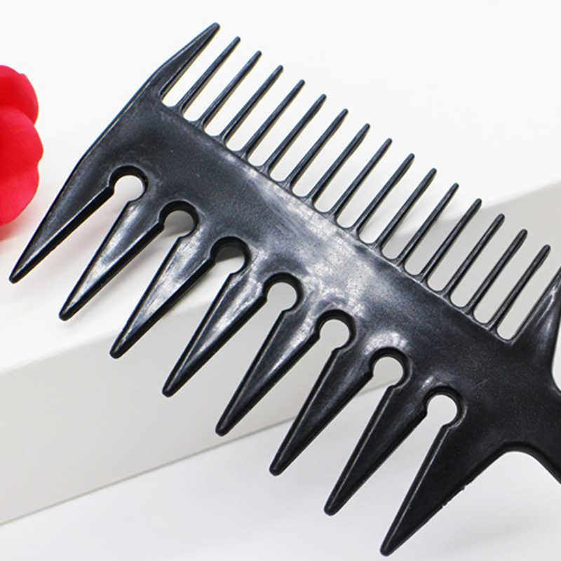Dropship Warna Hitam 3 WAY Lebar Gigi Sisir Salon Rambut Afro Memilih Sikat Sisir Hairdressing Rambut Styling Sisir Kepang alat
