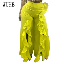 WUHE Trouser for Women High Waist Causal Loose Wide Leg Pants Female New Trendy Clothes Summer Casual Ruffles Split