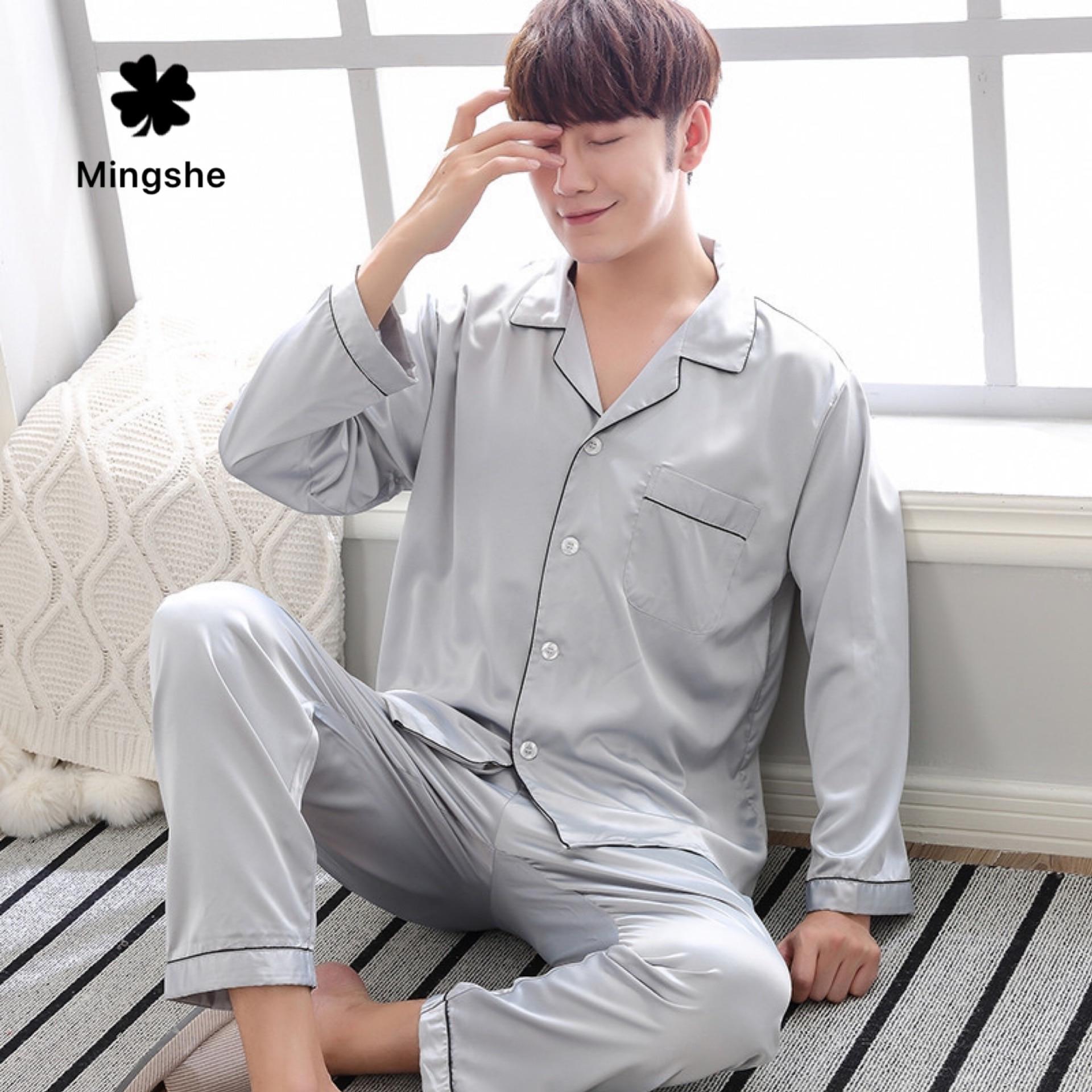 Весенние и осенние зимние пижамы мужские шелковые пижамы с длинными рукавами брюки ледяной шелк тонкий срез домашний сервис костюм Лето XL