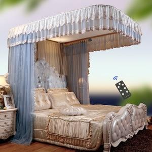 Image 2 - Moda elétrica mosquito net casa 1.8 m cama ferroviário polia nova grossa princesa cortinas cama mosquiteiro decoração para casa