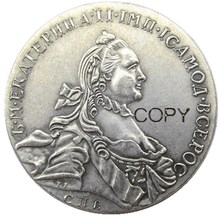 1763 Россия серебро 1 рубль/рубль Монета VF Catherine II KM-C672. СПб с серебряным покрытием копия монеты