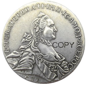 1763 RUSSIA SILVER 1 ROUBLE/RUBLE Coin VF Catherine II KM-C672. St. Petersburg Silver Plated Copy coins(China)