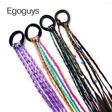 Wigs Accessories Ponytail-Holder Headbands Hair-Ring Braid-Rope Rubber Rainbow Elastic