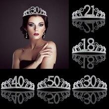 18, 21, 30, 40, 50, диадема для вечеринки на день рождения, для взрослых, Хрустальная тиара, принцесса, корона, аксессуары для волос, украшение