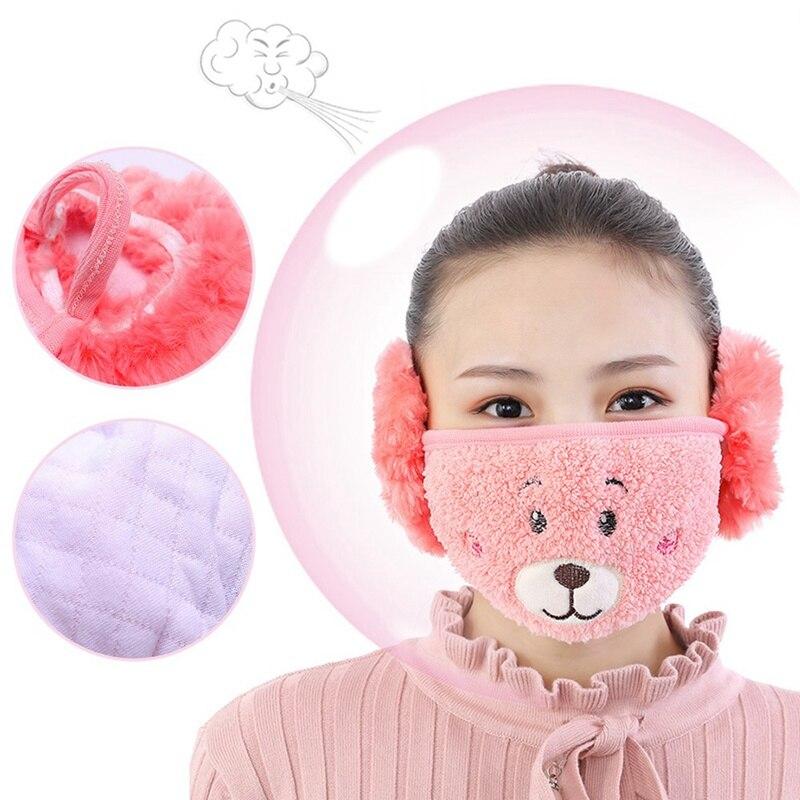 2019 Women Fashion Winter Cartoon Bear Fox Dust Winter Masks Ear Windproof Warm Child Face Mouth Cover