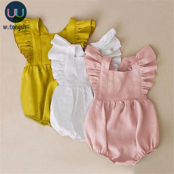 Letnie dziewczynek pajacyki Ruffles księżniczka odzież dla dzieci Bebe Roupas noworodek ubrania dla niemowląt kombinezony odzież ubranko dla dziecka tanie i dobre opinie Wutongshu COTTON Kobiet W wieku 0-6m 7-12m 13-24m Stałe Plac collar Swetry Bez rękawów Baby Girl Rompers Pasuje prawda na wymiar weź swój normalny rozmiar