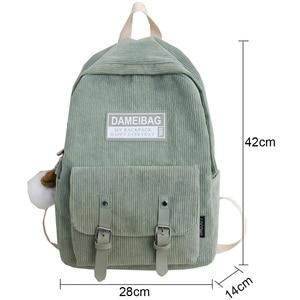 Image 4 - Милый вельветовый рюкзак в полоску, милый школьный ранец для женщин, роскошный рюкзак для девочек подростков в стиле Харадзюку, модная женская сумка для учебников