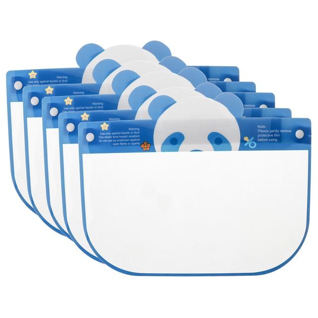 5PCS Kids Full Face Shield Mask Transparent Protective Visor Face Mask Plastic Anti Splash Anti saliva Dustproof Full Face Cover 2