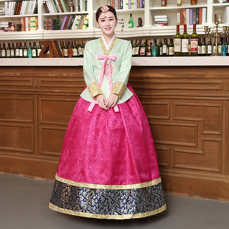 New Style Woman Elegant Korean Traditional Costume Minority Dance Performance Clothing Female Hanbok Court Pincess Dress