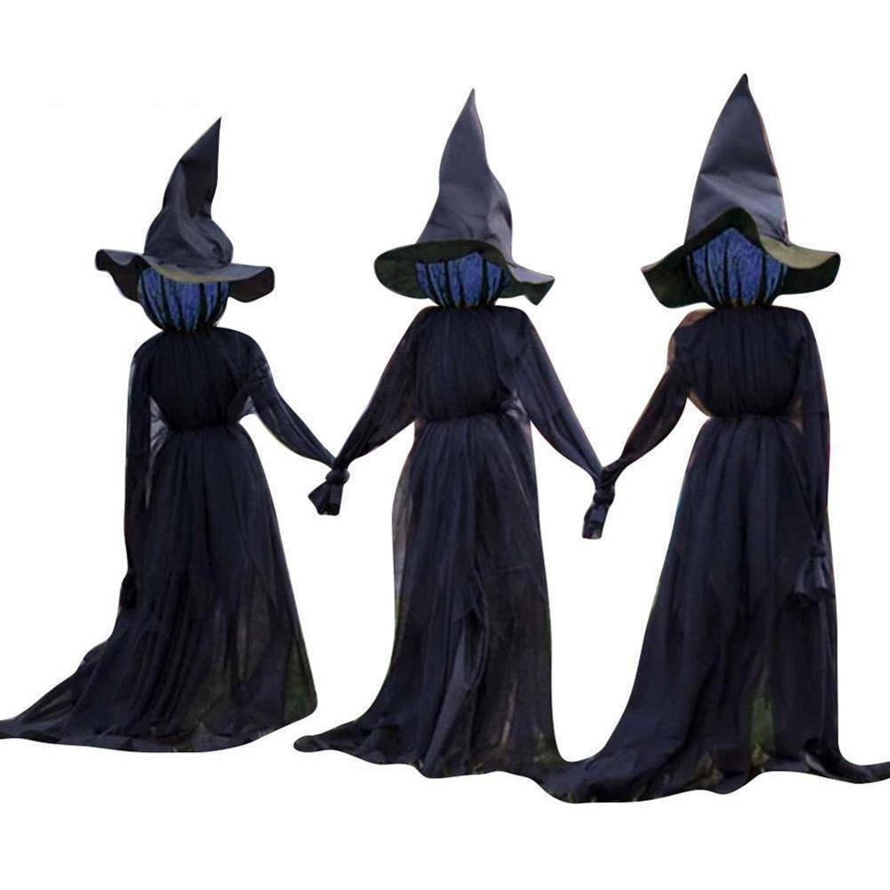 1.6m Black Light up Witches Make A Terrible Noise Home Yard Halloween Festive Atmosphere Decorations Halloween Simulation Witch|Party DIY Decorations|   - AliExpress