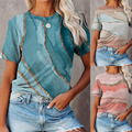 Fashion Summer Casual Shirts for Women Short-sleeved Tie-dye Gradient Pullover T-shirt Tops Oversized Loose Brandy Melville Tops