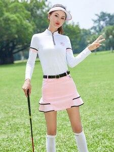 Женская весенняя одежда для гольфа, футболка с длинными рукавами на молнии, летняя спортивная одежда, короткая юбка, штаны, дышащая быстросо...