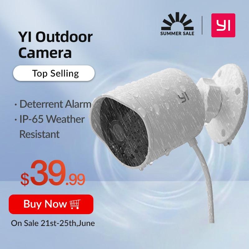 Уличная камера видеонаблюдения YI Outdoor Camera 1080p, Облачное хранилище, IP камера, Погодоустойчивая, Водонепроницаемая, Усовершенствованное ночно...