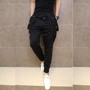 Image 1 - Erkekler gece kulübü şarkıcı hip hop punk harem pantolon bırak crotch dökümlü pantolon erkek elastik dar pantolon sahne kostüm joggers