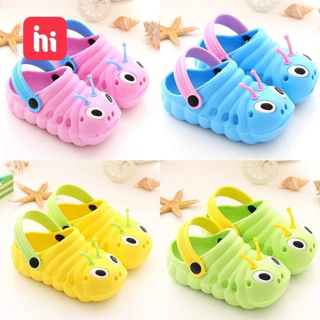 Kids Slippers Children Garden Shoes Baby Cute Cartoon Caterpillar Beach Sandals Babies Summer Slippers High Quality Flip Slipper