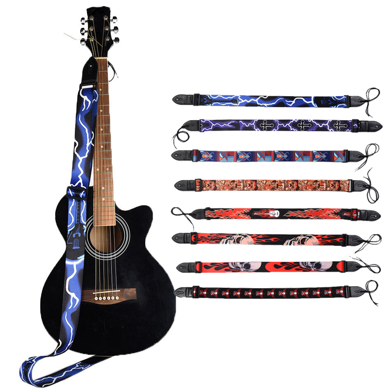 Guitar Strap With Leather End Acoustic Guitars Electric Guitar Bass Guitar Accessories
