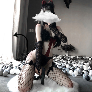 Image 4 - Sexy Cat Catwoman Erotic Halloween Costumes for Adult Women Christmas Maid Costume Cosplay Rabbit Girl Uniform Temptation