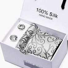 цена на 2019Luxury 7.5cm Plaid  Tie Man Wedding Tie  Jacquard  Men Tie, Handkerchief,  Cufflinks Gift Box Packaging