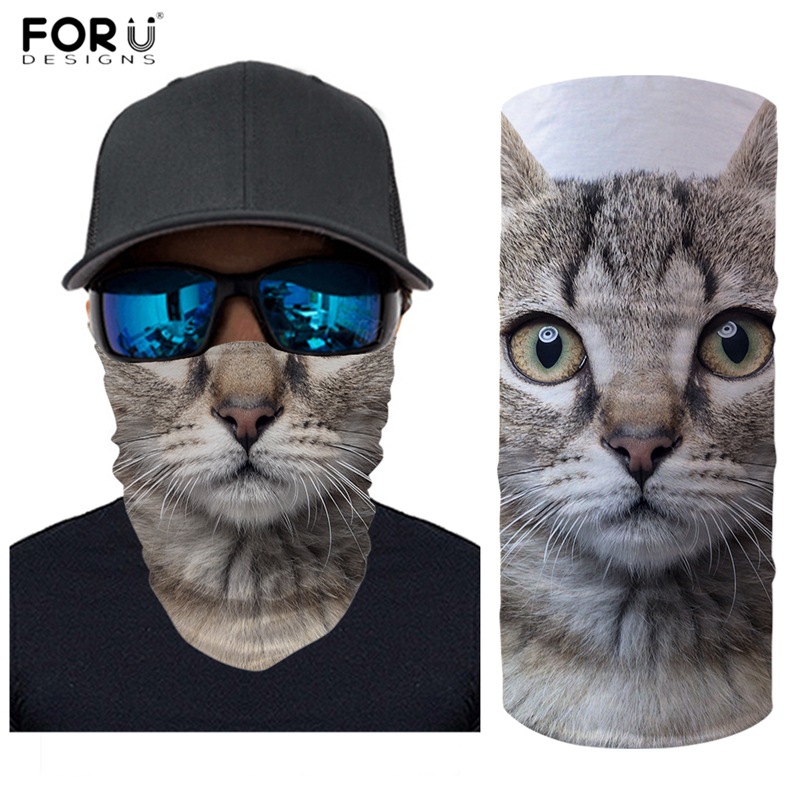 FORUDESIGNS 3D Animal Cat Mouth Print Women Scarves Breathable Face Masks For Men Cycling Motorcycle Bandanas Girls Neck Buffs