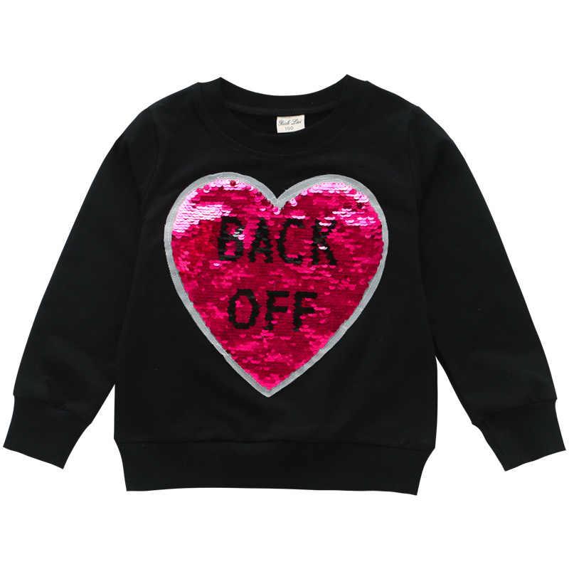 2019 새로운 여자 가을과 겨울 변색 된 스팽글 스웨터 가을 어린이 의류 여자-긴팔 바닥 셔츠