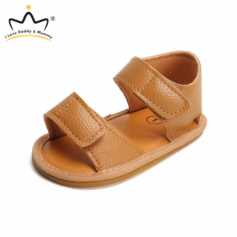 Summer New Leather Baby Sandals Solid Color Soft PU Leather Non-slip Rubber Sole Baby Shoes Toddler Boy Girl Sandals