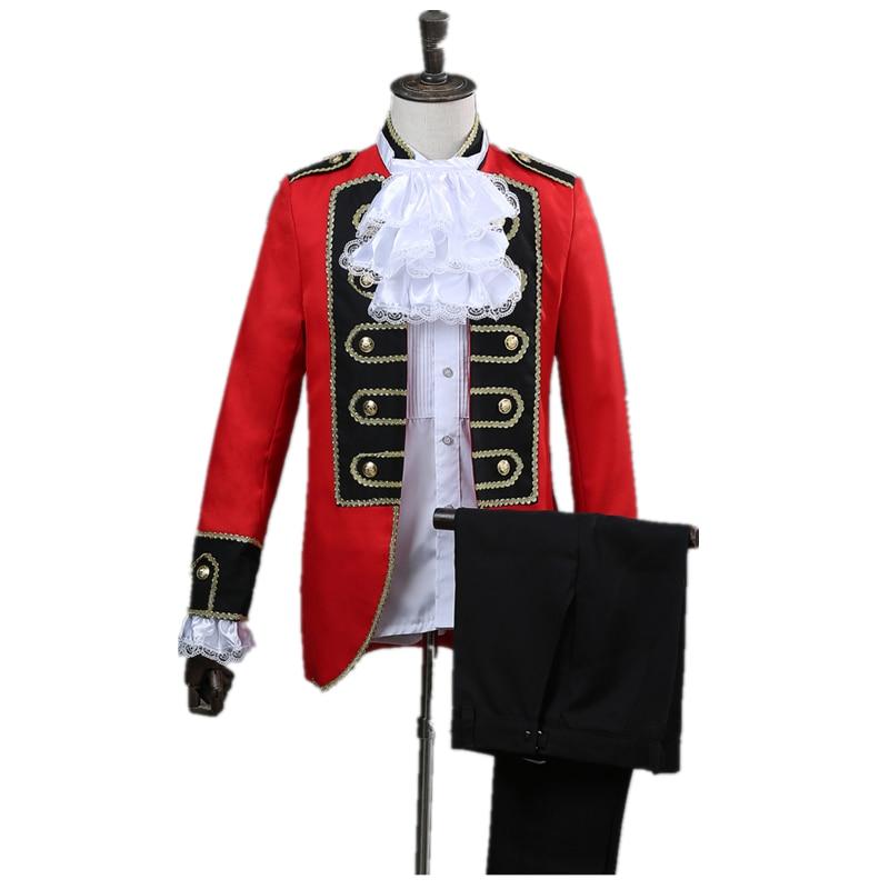 Men's 2 Piece Suit British Style Palace Suit Set (coat + Pants) Male Red Plus Black Slim Suit Singers Party Ball Costume
