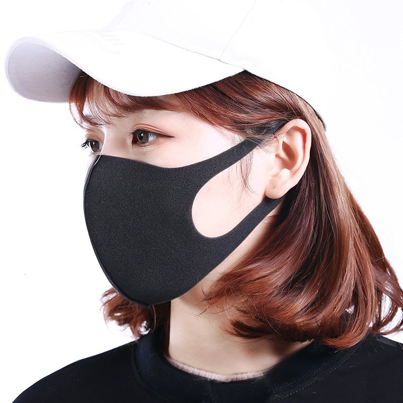6Pcs Reusable Face Mask PM2.5 Mouth Cover Washable Face Masks Anti Dust Windproof Anti Pollution Fashion Black Respirator