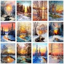 5d алмазная живопись «сделай сам» Зимний закат дерево пейзаж