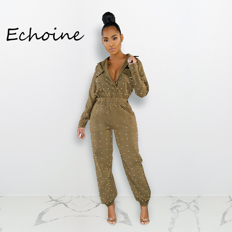 Casual Bubble Beads Jumpsuit Coffee Side Pocket  Long Rompers Womens Jumpsuit Overalls Plus Size 2xl Plus Size Jumpsuits