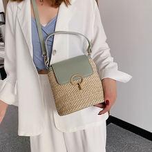 Маленькая Соломенная женская сумка мешок летняя Дамская дорожная